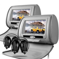 X-tron 6606 Pair Headrest DVD 7inch Game console USB SD (Grey)