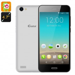 Gretel A7 Android Phone - Android 6.0 OS, Gorilla Glass, 4.7 Inch Screen, MT6580 CPU, Dual SIM, 2000mAh (Silver)