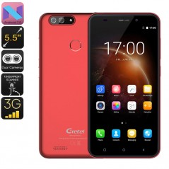 Gretel S55 Android Phone - Quad-Core CPU, Android 7.0, Fingerprint, 5.5-Inch, 2600mAh, Dual-Rear Camera, 3G (Red)