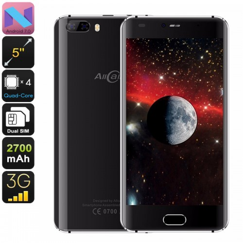 Allcall Rio Android Phone - Quad-Core CPU, Android 7.0, 5 Inch HD Display, Dual-IMEI, 3G, OTG, 2700mAh, 8MP Dual-Camera (Black)