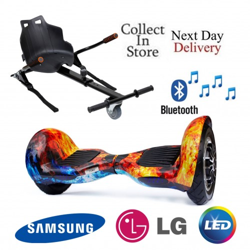 10 inch Hoverboard Cobra Bluetooth + Kart - icy Flame