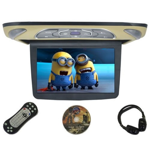 """Allroads 1140D - 11.4"""" Slimline Roof Mounted Screen with DVD Player Beige"""