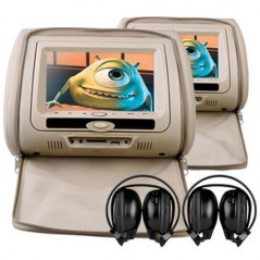 X-tron 6606 Pair Headrest DVD 7inch Game console USB SD (Beige)