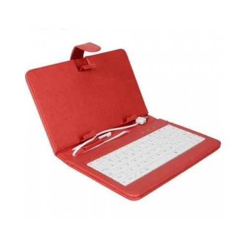 """7"""" Universal Leather Case with Keyboard for Tablet PC - Red"""