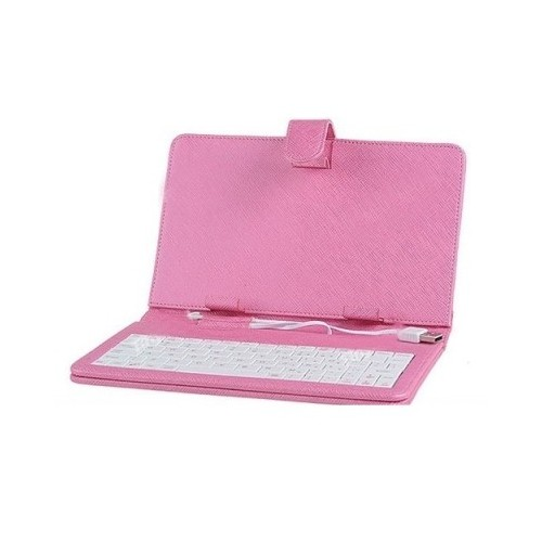 "7"" Universal Leather Case with Keyboard for Tablet PC - Pink"
