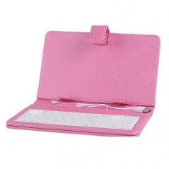 "9"" Universal Leather Case with Keyboard for Tablet PC - Pink"