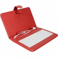"10"" Universal Leather Case with Keyboard for Tablet PC - Red"