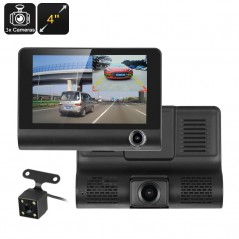 Car Dash Camera - 3 Cameras, G-Sensor, Loop Recording, Rear View Parking Cam, 4-Inch Display