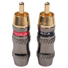 REXLIS TR026 2 PCS RCA Male Plug Audio Jack Gold Plated Adapter for DIY Audio Cable & Video cable