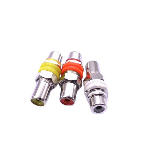 9 PCS  3 Pairs RCA Female to Female Straight-through Head AV Lotus Butt Joint Extension Head Audio and Video Adapter