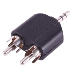 2 RCA Male to 3.5mm Male Jack Audio Y Adapter(Black)